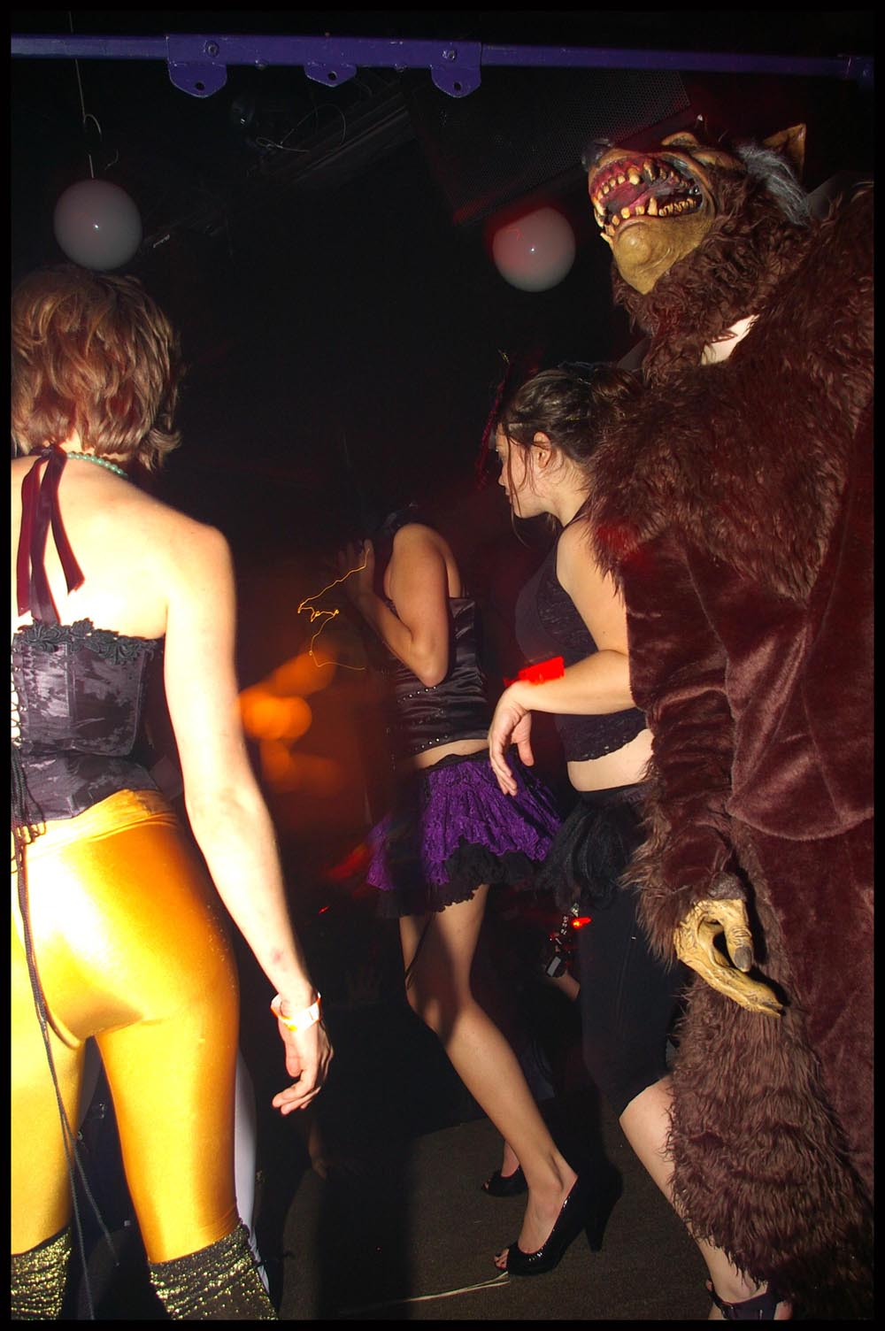 small costume girls and wolf